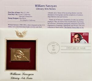 22K Gold 1991 William Saroyan First Day Cover Gold Proof StampReplica NO Address