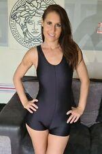 "Black Shiny Lycra Spandex Dance Unitard Short Kneeskin Catsuit Dance Sm UK 8 32"""