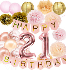 Pink Rose Gold 21st Birthday Party Decorations Rose Gold Confetti Balloons Rose