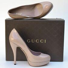 GUCCI New sz 39.5 9.5 Womens Designer Beige Platform High Heels Shoes Authentic