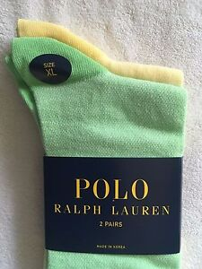Polo Ralph Lauren Men's 2 Pack Oxford Socks~Size XL~Apple Grn/Yellow Stripe~NWT