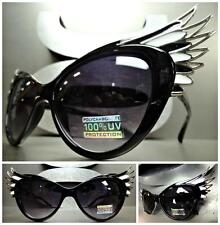 UNIQUE VINTAGE EXAGGERATED CAT EYE & WINGS Style SUNGLASSES Black & Silver Frame