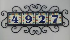 4 FLOWERS Mexican Ceramic Number Tiles & Horizontal Iron Frame