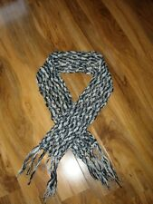 BLACK & SILVER KNITTED SCARF - CHUNKY KNIT - 56 INCHES IN LENGTH