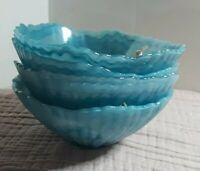 "× 4 Alabaster Glass Teal Blue Translucent Swirl Bowls 6"" Scallop Turkey NWT"