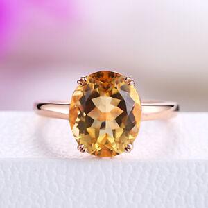 12x10mm Oval Cut Flawless 4.8ct Citrine Wedding Gemstone Ring Gift 10K Rose Gold