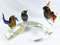 SIGNED GUIMAN MURANO ART-PIECE 3 PERCHING BIRDS ON BRANCH GLASS WINGED VINTAGE