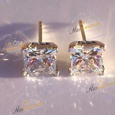 100% Real 925 Silver Super Sparkling Princess Cut Simulat. Diamond Stud Earrings