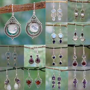 Women Amethyst Moonstone Opal Ruby Topaz Dangle Drop Earrings Hook Jewelry