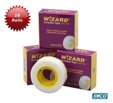 16 Rolls Invisible Sticky Tape Write On Easy Tear Wizard Brand Matt Sellotape