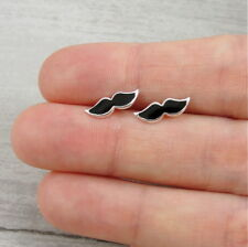 Mustache Post Earrings - 925 Sterling Silver - Mustache Moustache Studs NEW