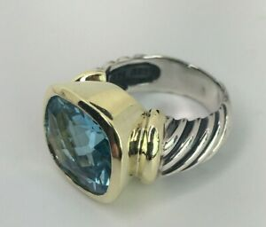 David Yurman Sterling Silver and 14 K Yellow Gold  Blue Topaz Ring Size 6