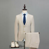 Beige Men Cotton Linen Suit Groom Tuxedo Party Prom Dinner Wedding Suit Custom