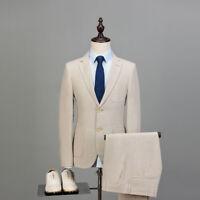 Beige Men Cotton Linen Suit Groom Tuxedo Party Prom Dinner Wedding Suit Custom
