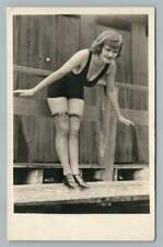 Pinup Cleavage Girl Diving RPPC Antique Risque Bathing Suit Photo AZO~1920s