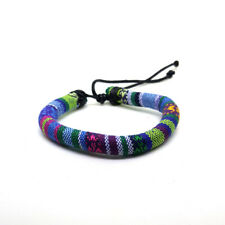 Blue & Multi-coloured Boho Cotton Bracelet Mens Womens Wrist Band Adjustable