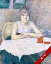 YOUNG WOMAN SITTING AT A TABLE FRENCH CAFE BISTRO PAINTING ART REAL CANVAS PRINT