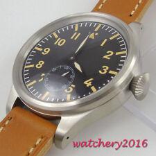 55mm parnis Sterile dial Leder 17 jewels 6498 Handaufzug movement Uhr mens Watch