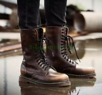 Punk Mens High Top Lace Up Round Toe Winter Shoes Combat Army Military Boots Sz