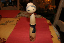 Superb Japanese Kokeshi Doll Of Painted Woman-Signed Stamped Bottom-LQQK