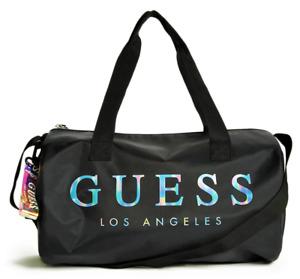 NEW GUESS LOGO DUFFEL BAG w- Shoulder Handbag Strap & Key Chain Black BNWT