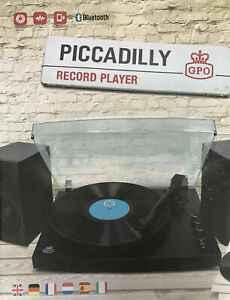 GPO Piccadilly Bluetooth Turntable Vinyl Record Player with Speakers-Matte Black