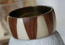 Vintage Bone Wood Inlay Brass Plate Bangle Bracelet