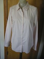 NYDJ-L/S-FIT SOLUTION BLOUSE-PETAL-BUTTON DOWN-SLIMMING-SHAPEWEAR BUILT IN-M-NWT