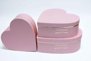 Set of 3 Pink Heart Shape Flower Box Paper Florist Supplies Gift Box