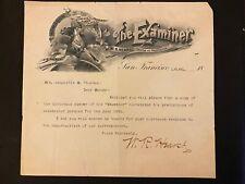 1891 WILLIAM RANDOLPH HEARST LETTER on San Francisco Examiner Letterhead! RARE