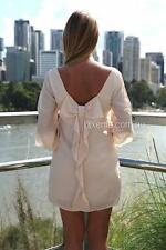 XENIA Brand Nude BILLOWING BOW BACK Dress Size 12 BNWT #TS94