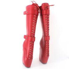 18cm Black Womens Punk Super High Heel Wedges Lace-up Heelless Lockable Boots