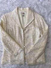 Talbot's Women's Lace Ivory Blazer 3/4 Sleeve Career Evening Size 12 - NWOT