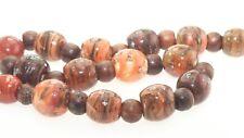 OliveStuart Handmade Lampwork Beads 15 variegated rust round