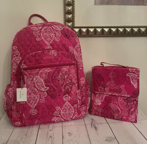 Vera Bradley STAMPED PAISLEY Quilted Campus Backpack + Lunch Bag (NWT)
