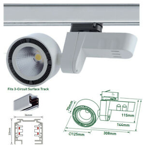 COB 24W LED Track Light Adjustable Spotlight 3 Circuit Store Shop Office Lamp