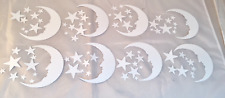 Tim Holtz Die Cuts * Crescent Moon and Stars * White Cardstock * 8 Sets!