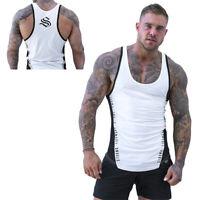Gym Men Muscle Slim Sleeveless Tee Shirt Top Bodybuilding Sport Fitness V IO