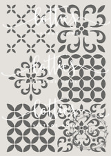 A4 STENCIL ASSORTED MOROCCAN TILES ❤ Furniture Vintage REPEATABLE 190 MYLAR 003