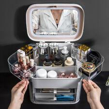 Makeup Organizer With Mirror LED light Large Capacity Jewelry Rack