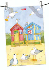NEW Beach Huts Seagulls Cotton Kitchen Tea Towel Emma Ball Made in UK