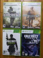 Call of Duty Modern Warfare 1 + 2 + 3 + Ghosts - Xbox 360 Lot of 4 Bundle *READ*