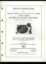 Factory Garrard RC 120 121 4 Turntable Record Player Owner's Service Manual