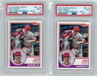 (2) Card Lot 2018 Topps Update Mike Trout 1983 Baseball #83-42 PSA 9 Graded