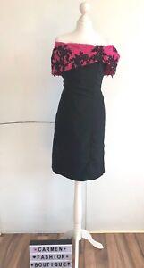 VINTAGE BLACK & PINK OFF THE SHOULDER 1980's 80's DRESS UK 8-10 EU 36-38 US 4-6