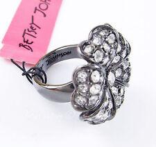NWT BETSEY JOHNSON Crystal Pave Flower Hematite-Tone Ring - Size 7