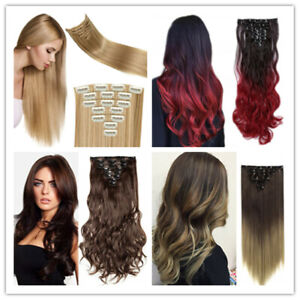 """23""""Long Clip in Hair Extension Straight Curly Full Head Hairpiece like real hair"""