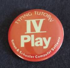 Vintage TYPING TUTOR IV PLAY Promo Trade Show Pinback Button PIN Computer Tech