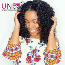 """UNice 100% Human Hair Lace Front Wig Malaysian Curly Virgin Hair 12"""" Pre Plucked"""