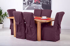 Set of 8 Purple Fabric Dining Chair Covers for Scroll Top High Back Leather